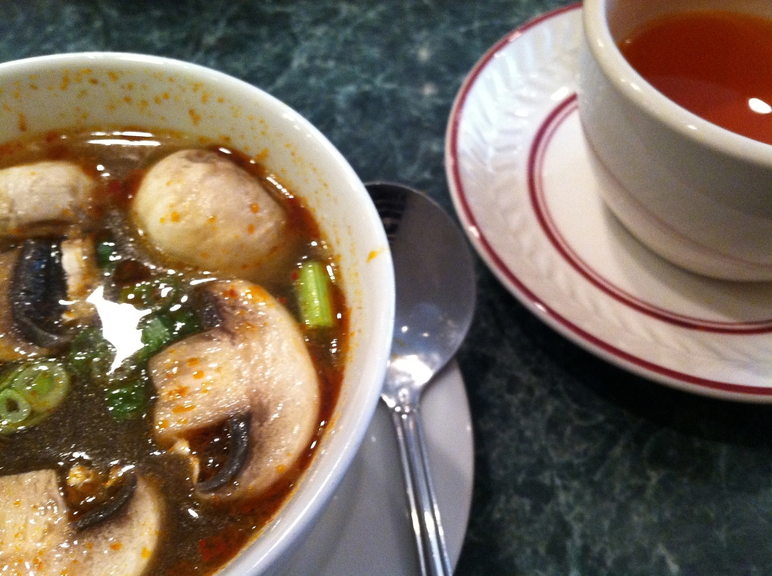 Eating Tom Yum soup at Chili Duck
