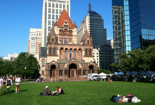 Sitting in the sun in Copley Square