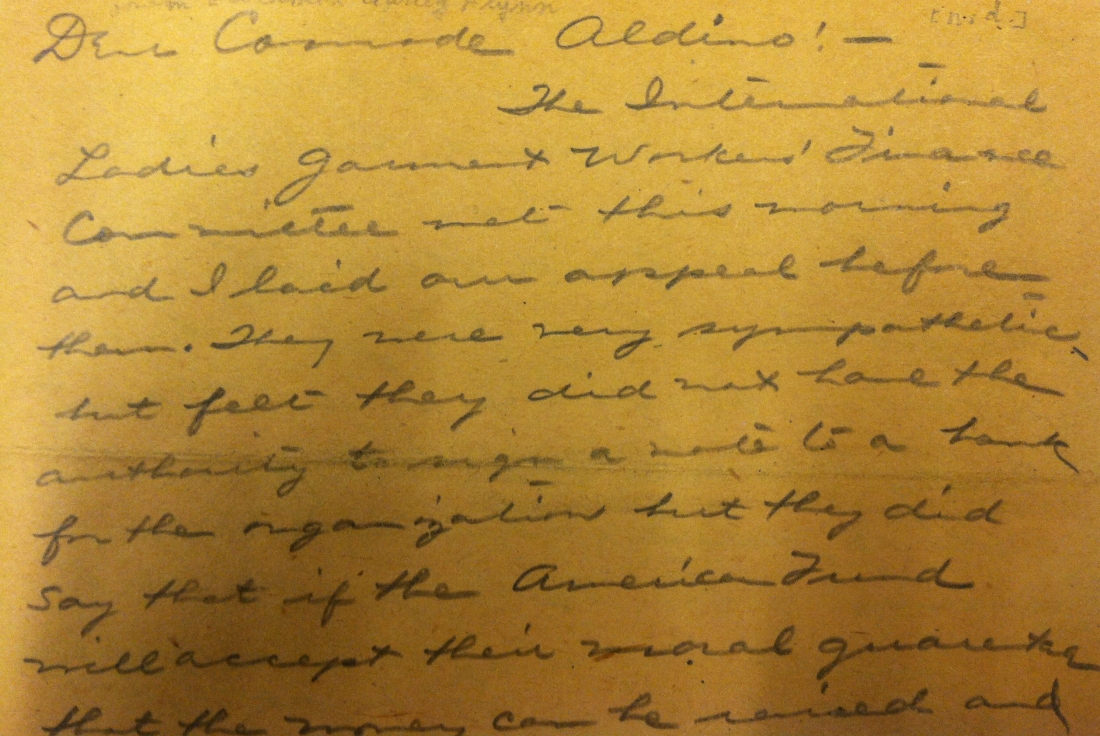 Letter from Elizabeth Gurley Flynn to Aldino Felicani.  BPL Special Collections Archive