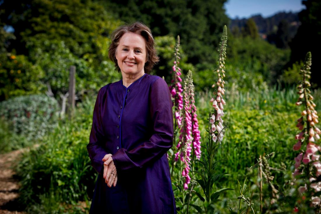Alice Waters stands in the Edible Garden at Martin Luther King Middle School in Berkeley, Calif. on Friday, April 30, 2010. http://insidescoopsf.sfgate.com/blog/2011/06/23/chez-panisse-40th-anniversary-schedule-and-list-of-chez-panisse-family-dinners/