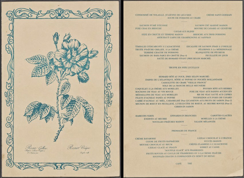 Menu from the Lutece Restaurant, 1970's.