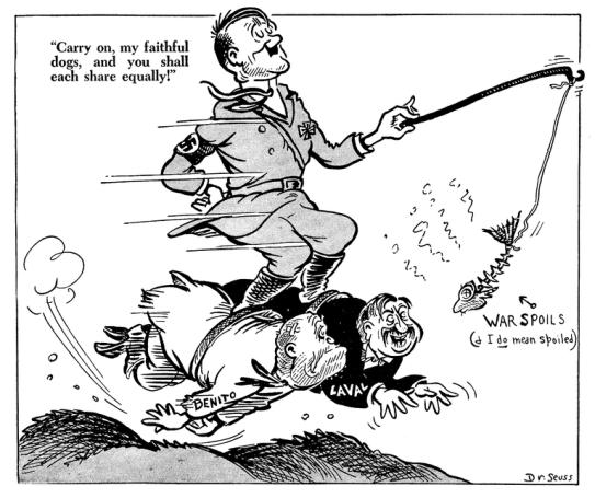 Dr. Seuss portrays Hitler.