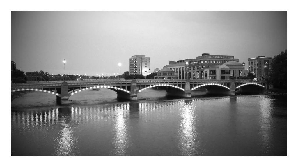 Grand Rapids Bridge at Dusk. Shot with a Samsung Galaxy S5.